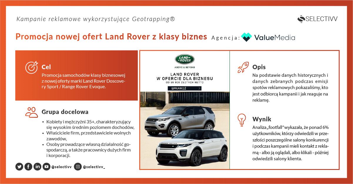 Selectivv. Kampanie reklamowe wykorzystujące  Geotrapping ®  - Promocja nowej oferty Land Rover z klasy biznes