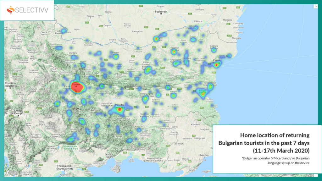 Selectivv. COVID-19. Home location of returning Bulgarian tourists in the 11-17th March 2020.