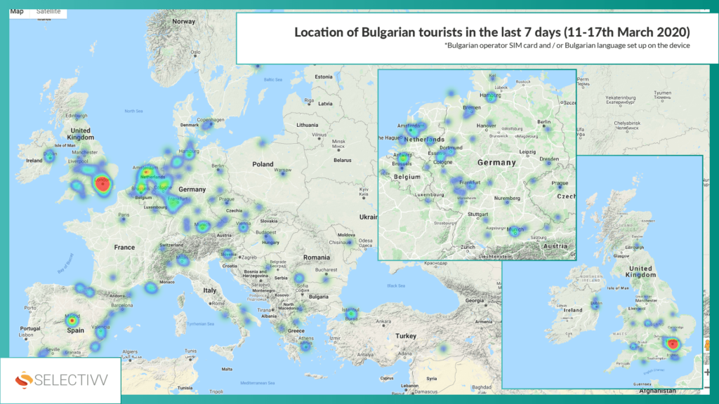 Selectivv. COVID-19. Location of Bulgarian tourists in the 11-17th March 2020.