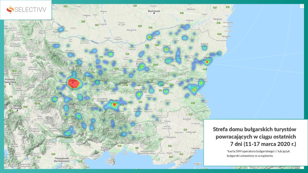 Selectivv. COVID-19 w Bułgarii.  Strefa domu bułgarskich turystów powracających z zagranicy w ciągu ostatnich 7 dni