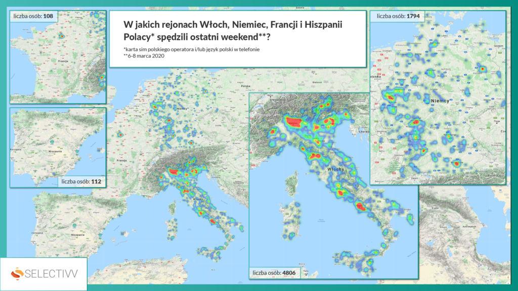 Selectivv. W jakich rejonach Włoch, Niemiec, Francji i Hiszpanii Polacy spędzili ostatni weekend.